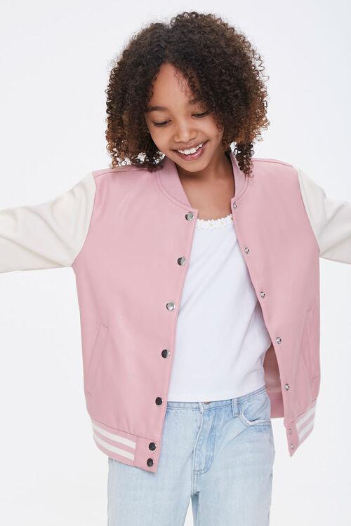 Girls Faux Leather Varsity Jacket (Kids), image 1