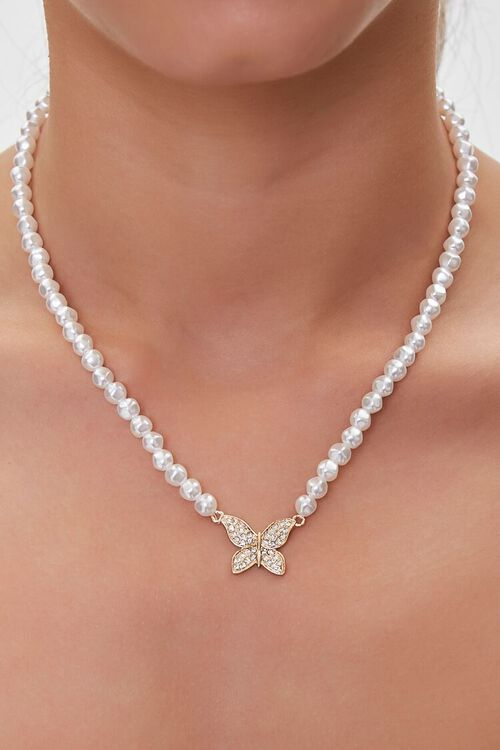 Butterfly Faux Pearl Necklace, image 1