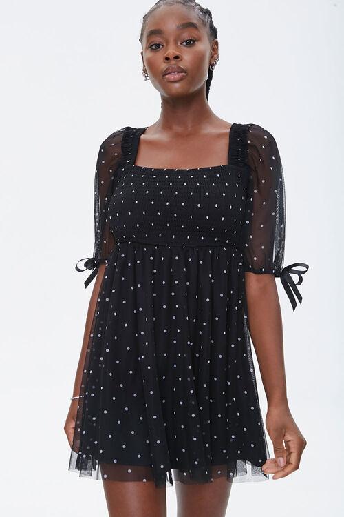 Polka Dot Mesh Mini Dress, image 1
