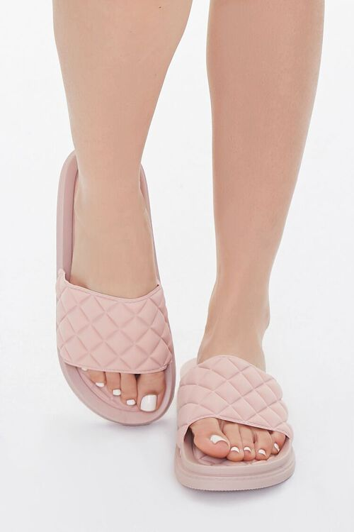 BLUSH Faux Leather Quilted Slides, image 3