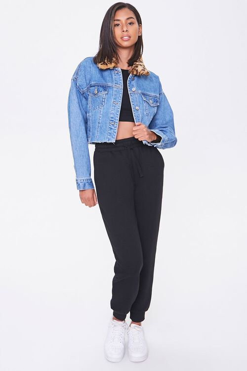 Faux Fur-Trim Denim Jacket, image 4