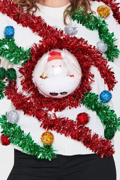 IVORY/MULTI Santa Snowglobe Garland Ball Sweater, image 5