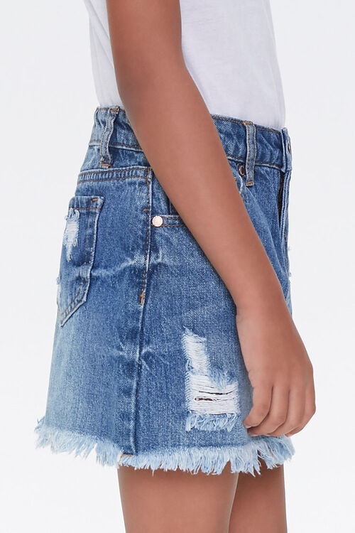 Girls Denim Frayed Skirt (Kids), image 3