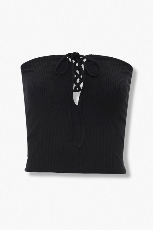 Ribbed Lace-Up Tube Top, image 1