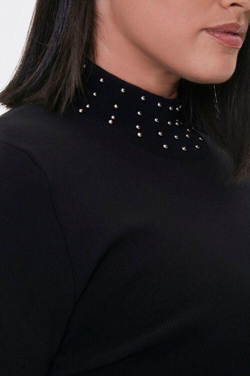 Plus Size Studded Mock Neck Sweater, image 5