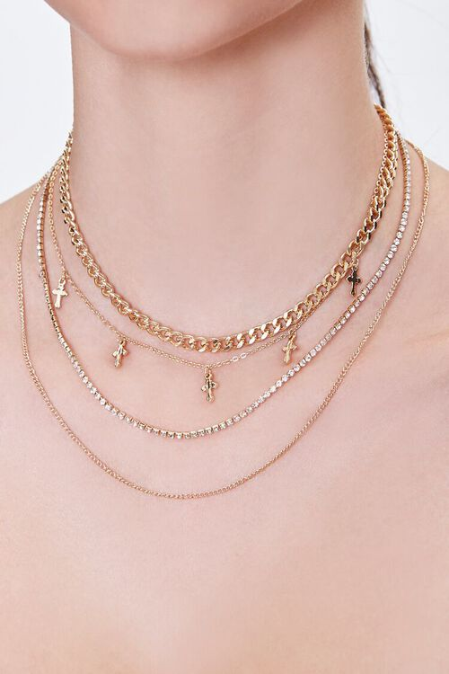 GOLD Cross Charm Layered Chain Necklace, image 1