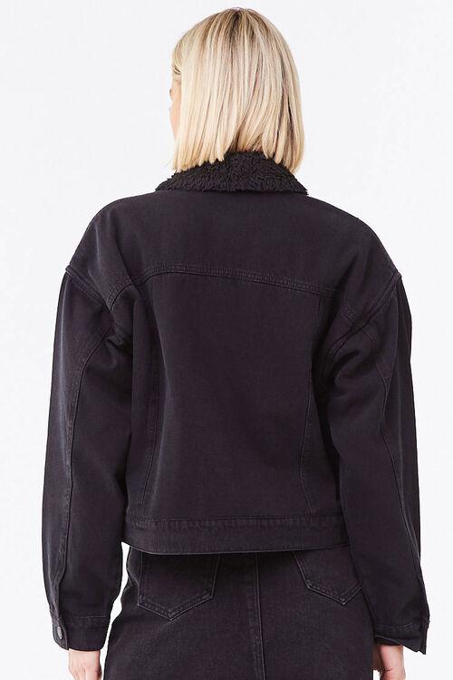 BLACK/BLACK Faux Shearling-Lined Denim Jacket, image 3