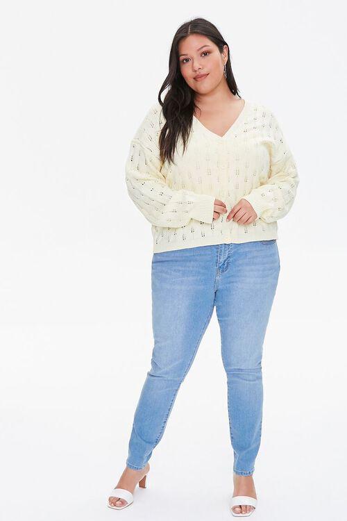 Plus Size Open-Knit Cardigan Sweater, image 4