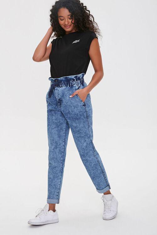 MEDIUM DENIM Paperbag Drawstring Jeans, image 5