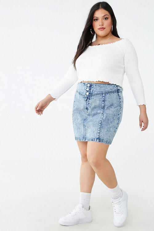 Plus Size Acid Wash Denim Skirt, image 5