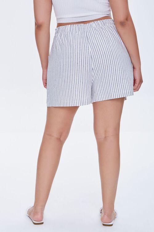 IVORY/BLACK Plus Size Striped Paperbag Shorts, image 4