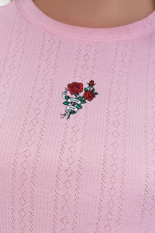 Rose Graphic Pointelle Tee, image 5