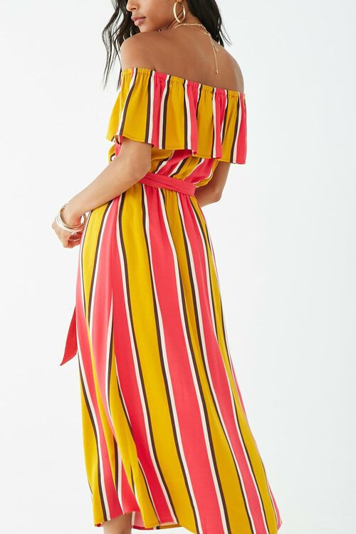 Striped Off-the-Shoulder Flounce Maxi Dress, image 3