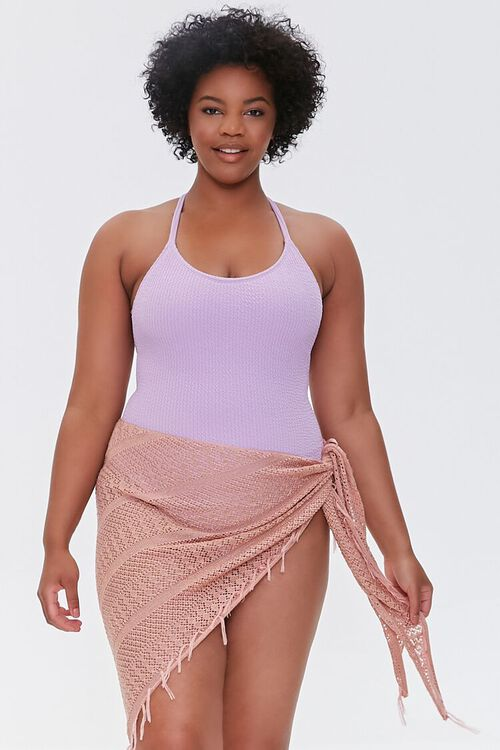 Plus Size Crochet Sarong Swim Cover-Up, image 1