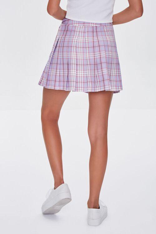LAVENDER/MULTI Pleated Plaid Mini Skirt, image 4