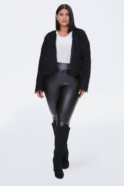 Plus Size Shaggy Open-Front Jacket, image 4