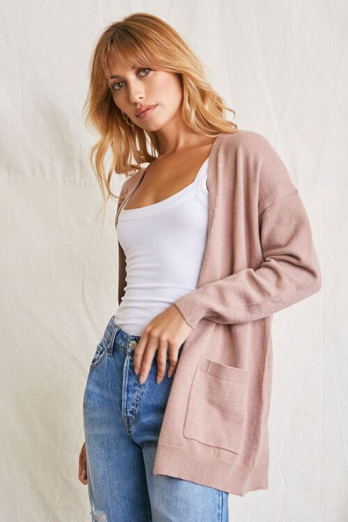 TAUPE Patch-Pocket Cardigan Sweater, image 1
