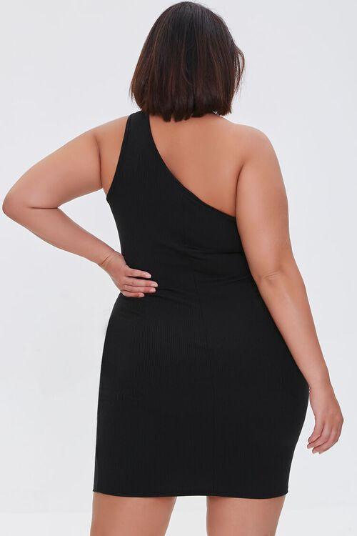 BLACK Plus Size One-Shoulder Mini Dress, image 3