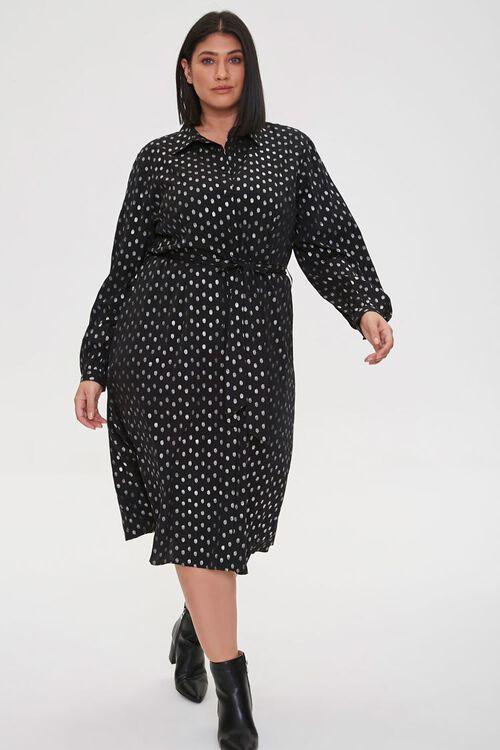 BLACK/SILVER Plus Size Polka Dot Shirt Dress, image 2