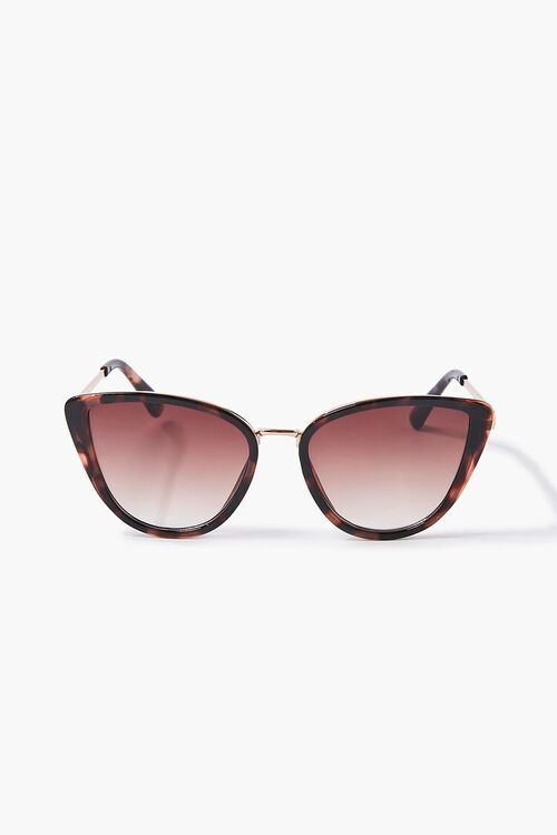 GOLD/BROWN Cat-Eye Frame Sunglasses, image 1