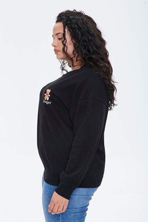 BLACK/MULTI Plus Size Embroidered Hugger Sweatshirt, image 2