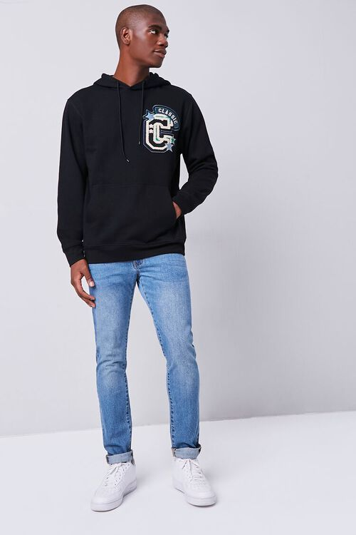 BLACK/MULTI Classic Chenille Patch Graphic Hoodie, image 4