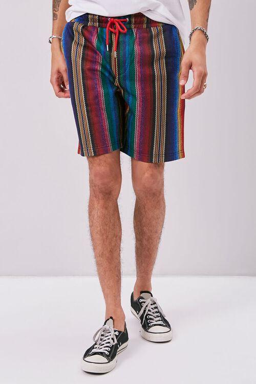 Striped Print Drawstring Shorts, image 2
