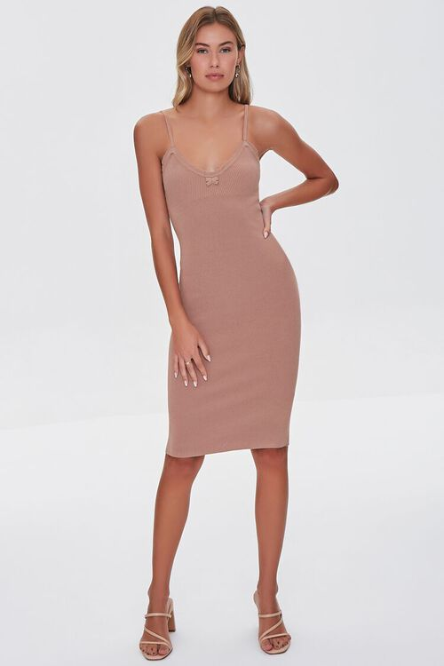 Lace-Trim Bodycon Dress, image 4