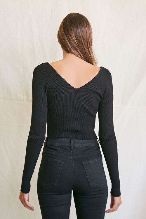 BLACK Ribbed Cropped Sweater, image 3