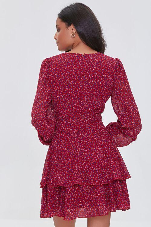 BURGUNDY/MULTI Ditsy Floral Print Chiffon Mini Dress, image 3