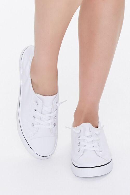WHITE Canvas Low-Top Sneakers, image 4