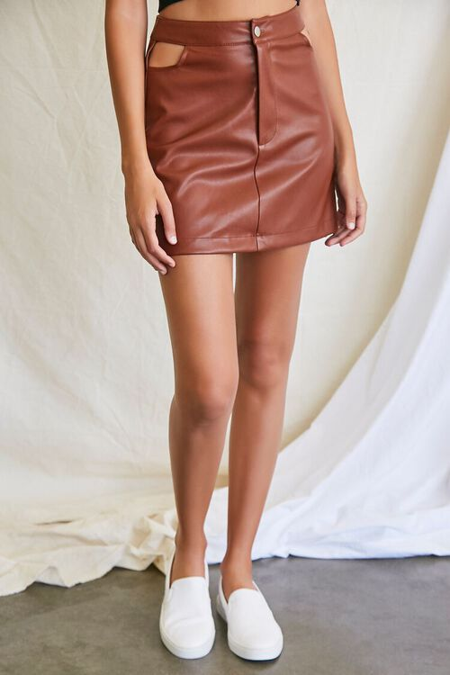 CHOCOLATE Faux Leather Cutout Mini Skirt, image 2