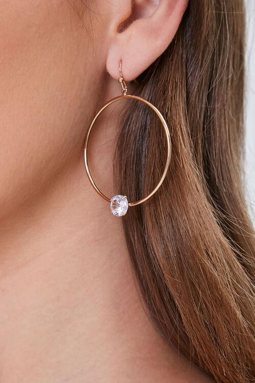 Drop-Hoop Rhinestone Earrings, image 1
