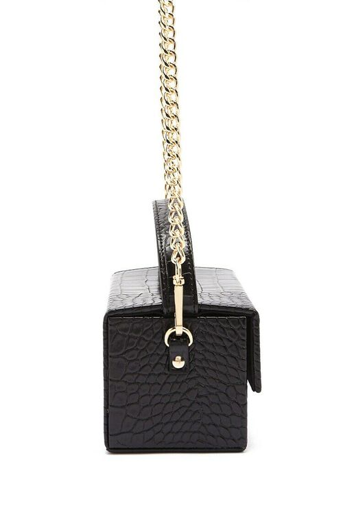 BLACK Faux Croc Embossed Crossbody Bag, image 3