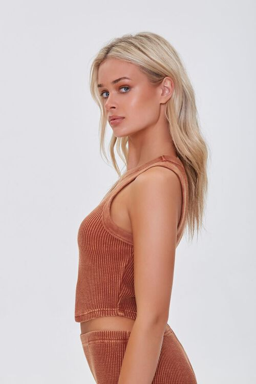 RUST Waffle Knit Cropped Tank Top, image 2