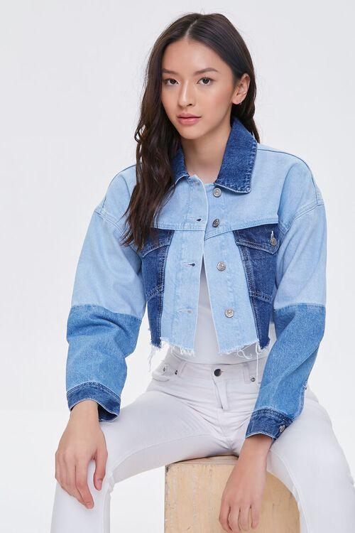Colorblock Frayed Denim Jacket, image 1
