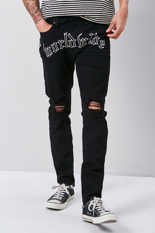 Embroidered Graphic Skinny Jeans, image 2