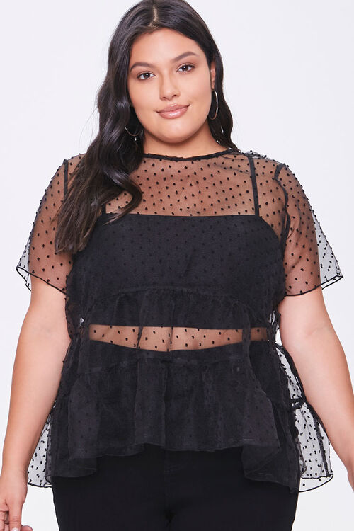 Plus Size Sheer Clip Dot Top, image 1