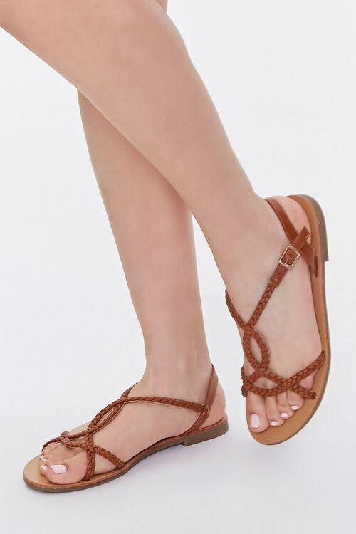 TAN Braided Faux Leather Sandals, image 1