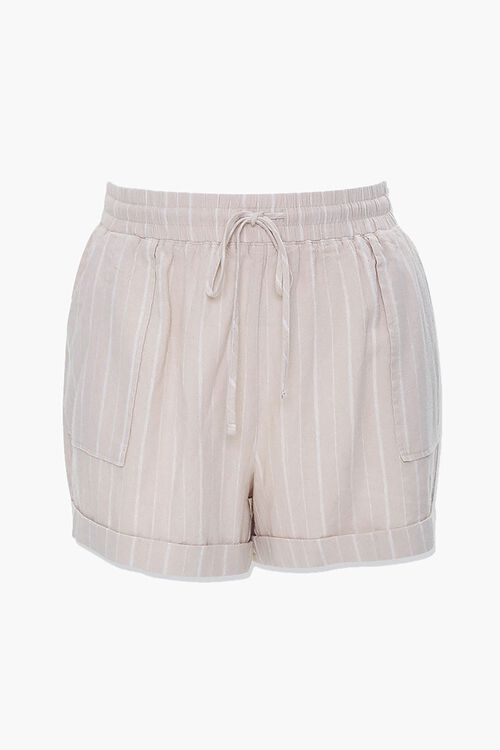 TAUPE/WHITE Plus Size Linen-Blend Striped Shorts, image 4
