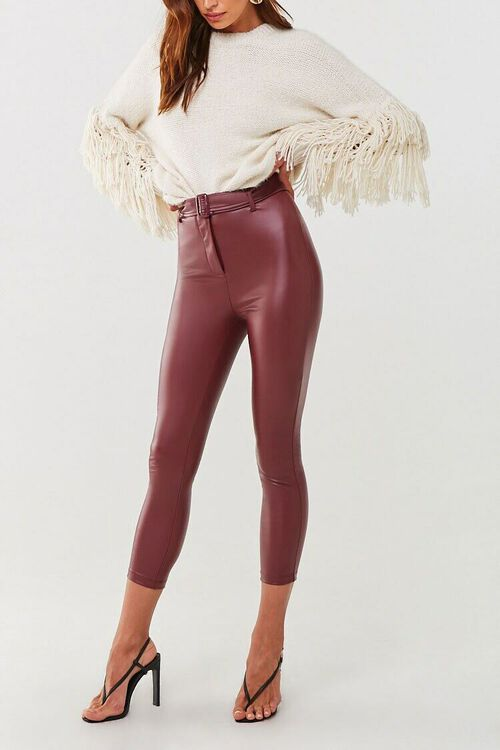Faux Leather Ankle Pants, image 1