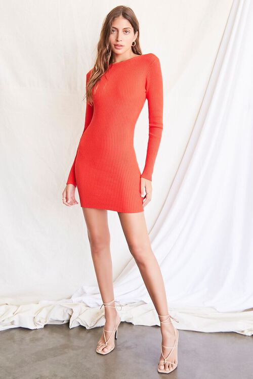 RED Twisted-Back Sweater Dress, image 5