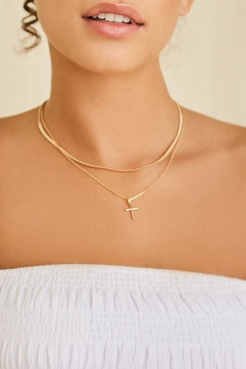 Layered Cross Pendant Necklace, image 1