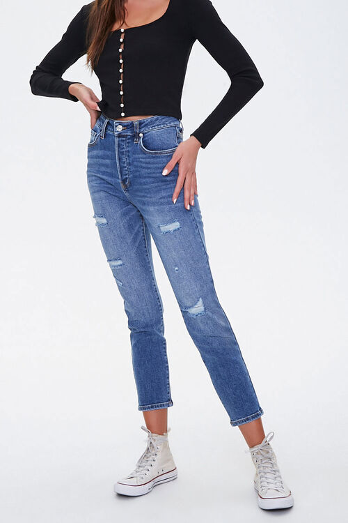 Distressed Ankle Mom Jeans, image 2
