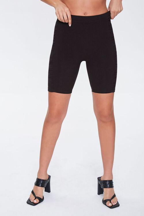 BLACK Ruched Biker Shorts, image 2