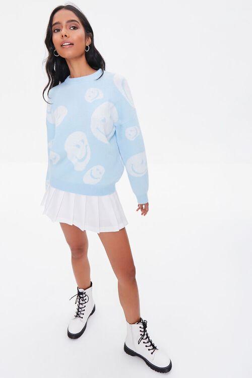 LIGHT BLUE/CREAM Happy Face Graphic Sweater, image 4
