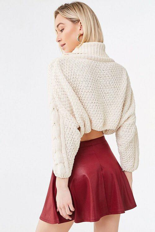 BURGUNDY Sheeny Skater Skirt, image 3