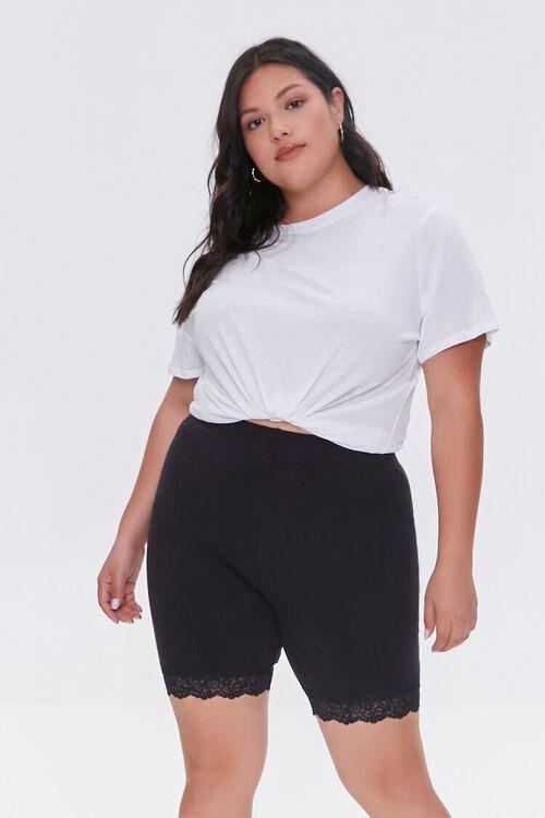 BLACK Plus Size Lace-Trim Biker Shorts, image 6