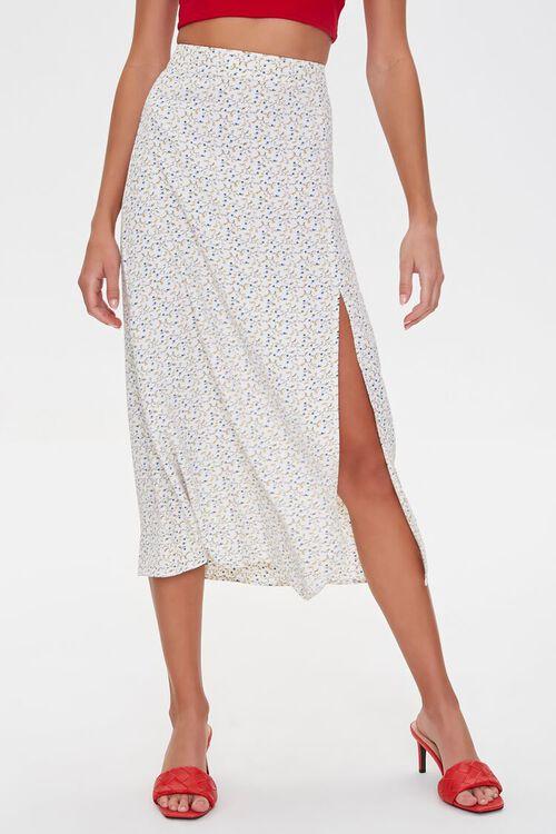 WHITE/MULTI Floral Midi Skirt, image 5