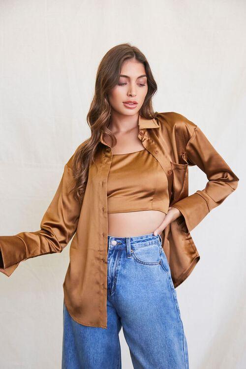 BROWN Satin Cropped Cami & Shirt Set, image 1